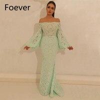 Пикантные Mint Длинные платья выпускного вечера Лодка шеи с плеча с длинным рукавом Кружева Для женщин вечерние Женское платье Дубай