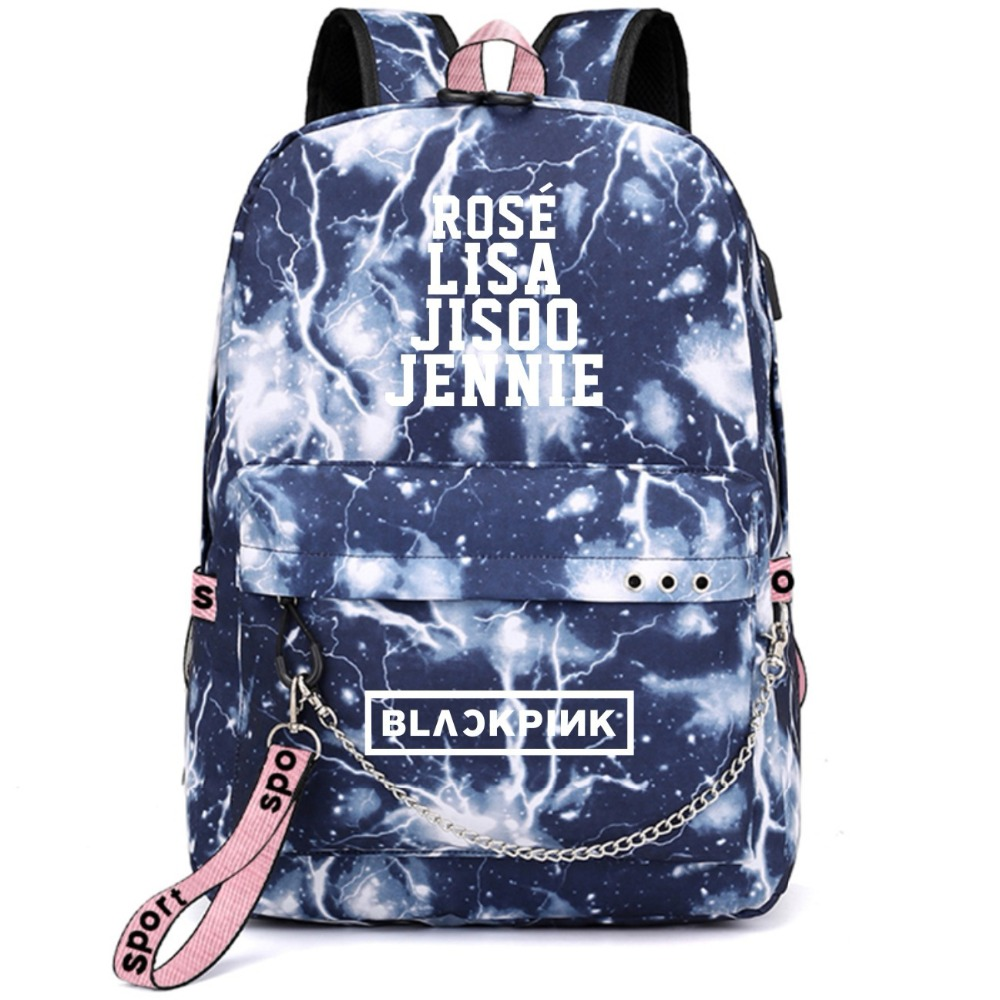 Blackpink Black pink Lisa Rose Jennie Backpack School Bags