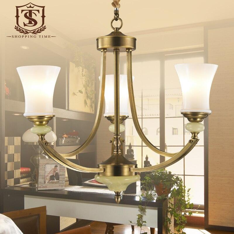 Moderno vetro bianco lampadario di rame e27 led 3 luci per sala da pranzo ottone bronzo appeso - Lampadari sala da pranzo ...