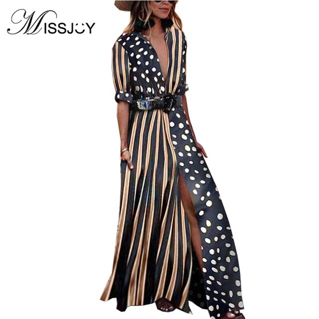 7137a2cc78f OTEN Fall 2018 boho Women Sexy V Neck Half Sleeve Striped Polka Dot Printed  contrast Front Split party casual long maxi dress