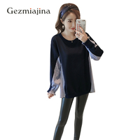 Spring Autumn Maternity Dress Clothing Fashion Pregnancy Clothes Pregnant Woman T shirt Long Sleeve Tees Splicing Maternity Tops