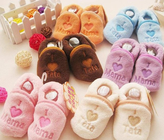 D&S Freeshipping New Autumn Winter Warm comfortable flannel Socks baby boys Slippers Baby girl shoes Baby Socks