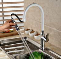 Deck Mount Pull Out Dual Functions Sprayer Head Kitchen Faucet White Chrome Finished Hot Cold Water