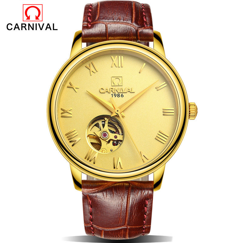 CARNIVAL Men Mechanical Watch Big Dial Luxury Brand Business Men Leather Watches Clock Wristwatches Relogio Masculino Reloj