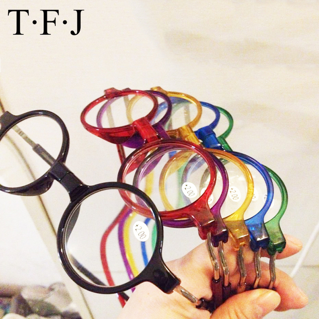 Round frame Reading Glasses Women Magnet Colorful Adjustable Hanging Neck Magnetic Front Clear Presbyopic glasses
