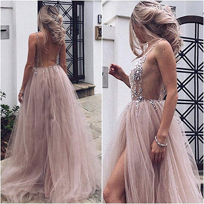 HOT SALE Tulle Prom Dresses 2019 Sexy Beads High Split Sheer Dusty Red vestidos de festa gala jurken Party Gown gala dress