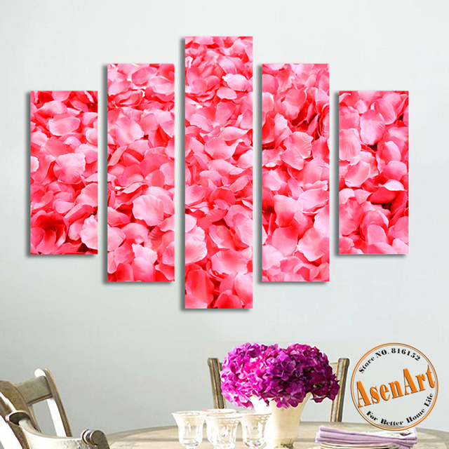 5 Panel Rose Canvas Painting HD Prints Wall Art Picture Pink Flowers ...