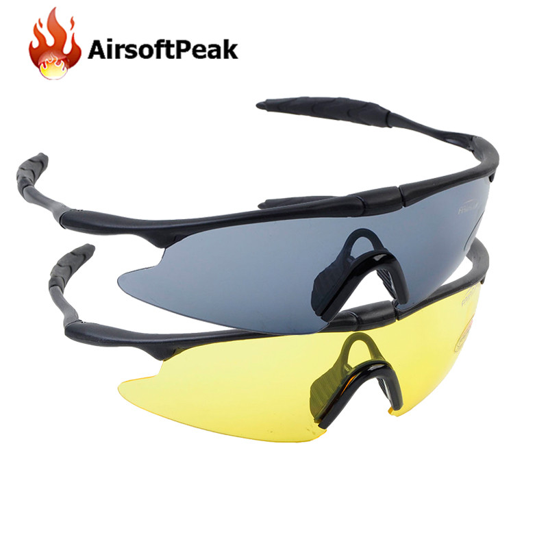 AIRSOFTPEAK Tactical Glasses Sporty UV400 Protector Shooting Glasses Goggle Hiking Eyewear Military Goggles Hunting Sunglasses ...