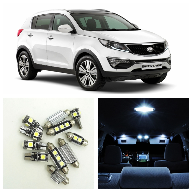 11pcs White Car Lamp LED Light Bulbs Interior Package Kit For 2005-2010 Kia Sportage Map Dome Trunk Door License Plate Light car led lights 2x error free white led license plate light lamp for kia sportage 11 15
