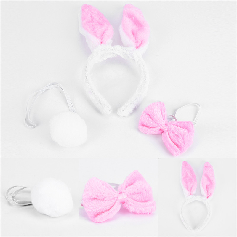 Lovely Girls Rabbit Bunny Ears Headband Tail Necktie Birthday Party Costume Prop Halloween Christmas Headwear