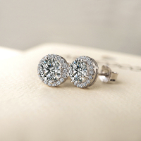 Jewelry Moissanite Halo Earrings 18K White Gold Totolctw 1Carat Center Moissanite Lab Diamond Earrings Wedding Fine Jewelry