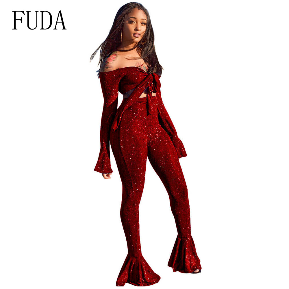 fb6bc4589a9 FUDA Autumn Two Piece Set Off Shoulder Jumpsuits Sparkly Ruffles Sexy Bow  Crop Top Flare Sleeve Club Party Bodysuit Overalls