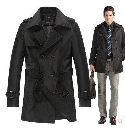 Подгонянный высококачественный Британский тонкий двубортный мужской длинный плащ, Европейский тренчкот, куртка, Мужское пальто, Тренч - Цвет: Черный