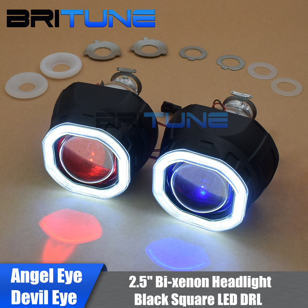 Square Angel Devil Eyes HID Bi xenon Projector Lens Headlight 2.5'' COB LED Black Kit Running Lights H1 H4 H7 Cars DIY Retrofit
