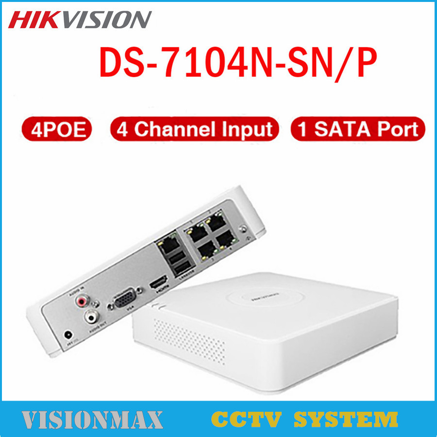 Hikvision 4CH CCTV NVR POE DS-7104N-SN/P HD 1080P Onvif Video Recorder 4 Ethernet Port HDMI VGA detection Playback For IP Camera cctv 4 port 10 100m poe net switch hub power over ethernet poe