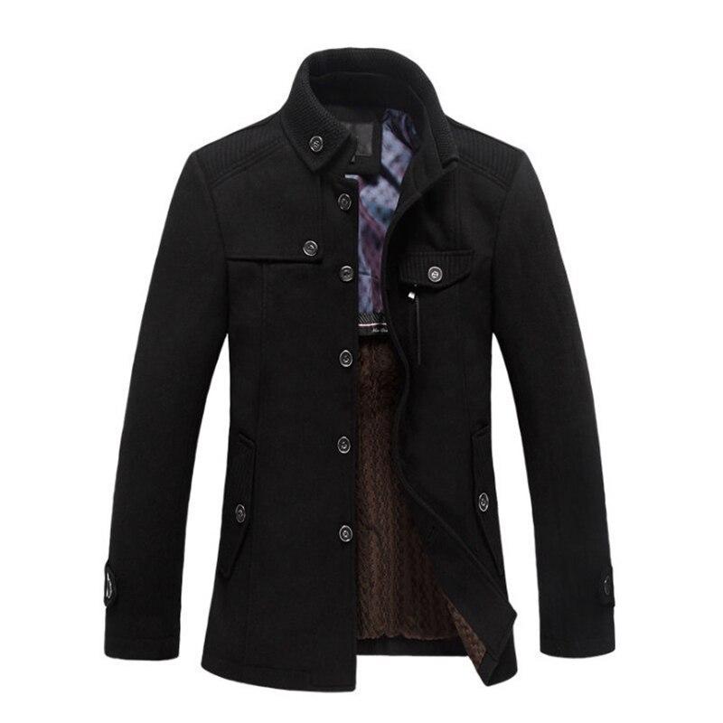 New Men's Wool Coats & Jackets Winter Single Breasted Mid-long Overcoat British Style Men's Windbreaker Casual Woolen Coat