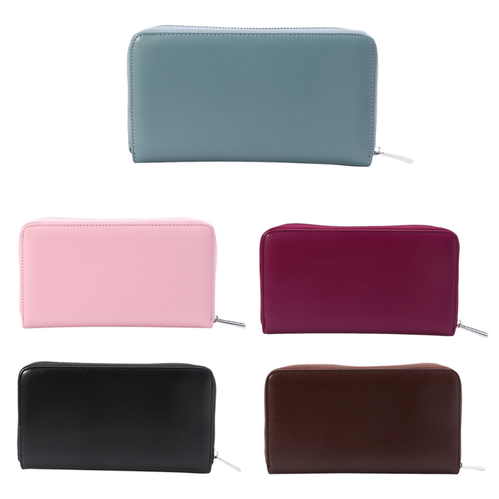 THINKTHENDO Women Travel Purse Leather Wallet Credit ID Card Holder New Fashion RFID Clutch Womens Solid Zip Wallets Purses