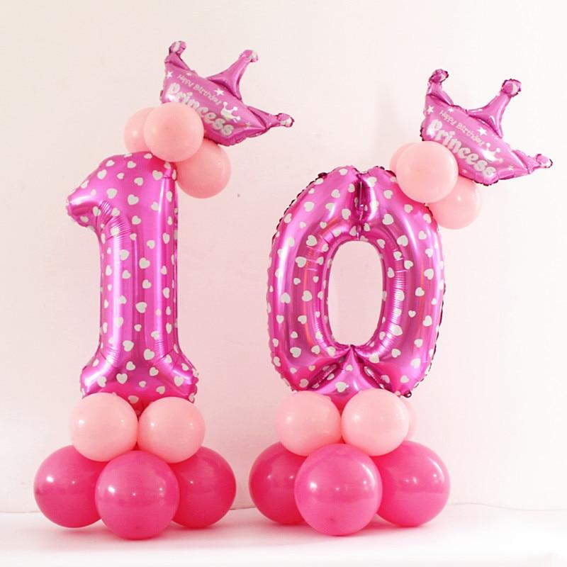 Happy Birthday Party Decorations Kids Balloon Aluminium Digit Air Balls Event Party Wedding Supplies Hats