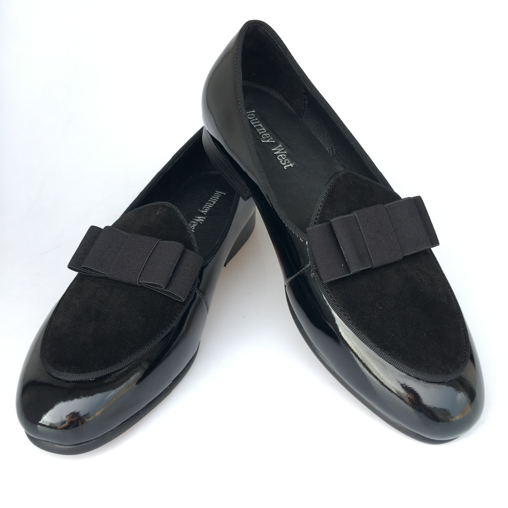 cf3eb36b1d9 New Handmade Men Black Genuine Leather Loafers Prom Dress Shoes with Bowtie  Luxurious Banquet Loafers Men s Flats Size 7-13
