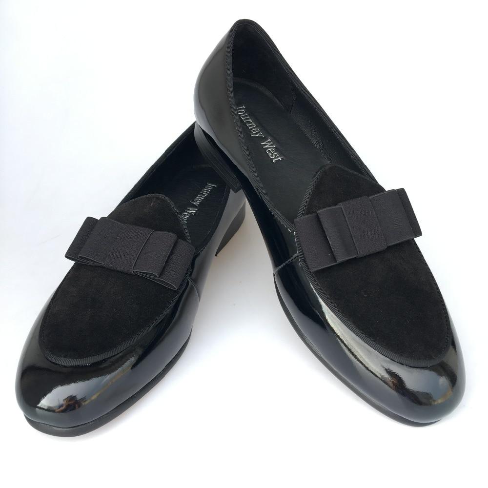 Նոր ձեռագործ տղամարդկանց սև իրական կաշվե ծածկոցներ Պրոմ զգեստ կոշիկ ՝ Bowtie- ով, շքեղ բանկետային փաթեթներով տղամարդկանց բնակարաններ, չափս 7-13