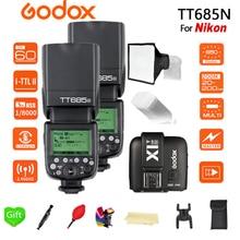 2X Godox TT685N 2.4G Wireless HSS 1/8000s i-TTL Speedlite Flash + X1T-N + 15*17cm softbox+ Color filter for Nikon DSLR Cameras