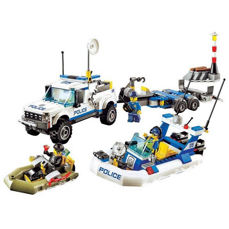 10421 BELA 409Pcs City Police Patrol Model Building Blocks Classic Enlighten DIY Figure Toys For Children Compatible Legoe 1700 sluban city police speed ship patrol boat model building blocks enlighten action figure toys for children compatible legoe