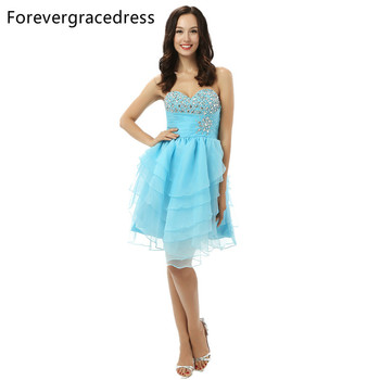 Forevergracedress 2018 Sexy Light Blue Short Prom Dress High Quality Sweetheart Beaded Crystal Party Gown Plus Size Custom Made