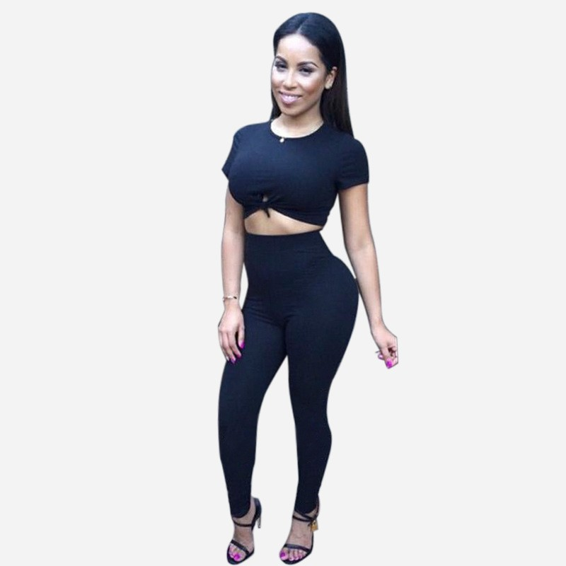 03d71a327fc Black/Blue Crop Top and Long Pants Rompers Women Bodysuit Knot Two Pieces  Outfits Overalls Bodycon Club Jumpsuits