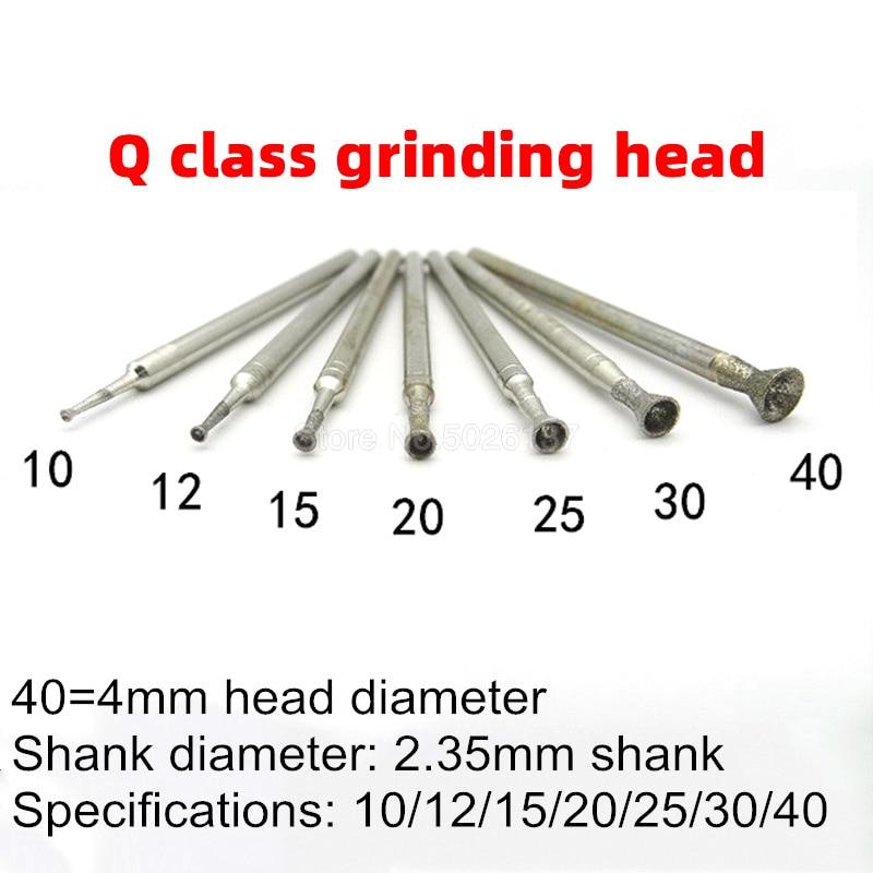 2.35mm Shank 6mm Dia Spherical Concave Head Polishing Mounted Point Bit 5pcs