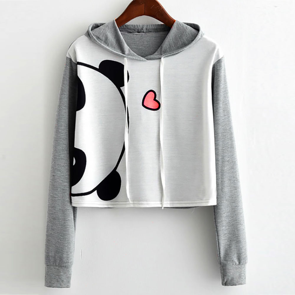 Autumn Women oversized harajuku hoodies Girl Panda Print Long Sleeve Hooded Crop Pullover Sweatshirt Tops hoodie Women S-5XL