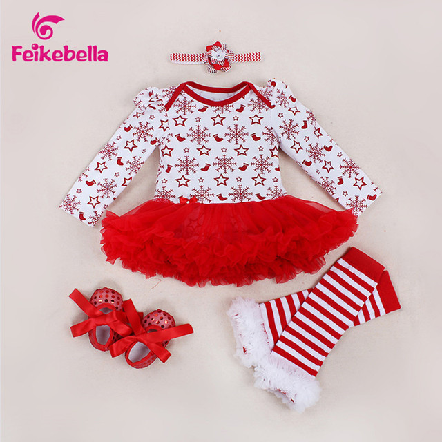 3ecfa2ca9e285 Christmas Baby Girl Clothes Newborn Baby Romper  Dress+Headband+Shoes+Leggings 4pcs Infant Clothing Set Xmas baby clothes-in  Dresses from Mother & Kids