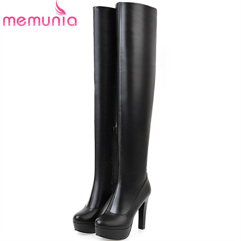 MEMUNIA Over the knee boots fashion elegant party sexy lady high heels boots for women autumn winter boots female PU zip memunia big size 34 43 over the knee boots for women fashion shoes woman party pu platform boots zip high heels boots female