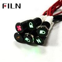FILN 10mm panel zwart shell met symbool auto applicance 12 v led lampje met 20 cm kabel-in Richtingwijzers van Licht & verlichting op