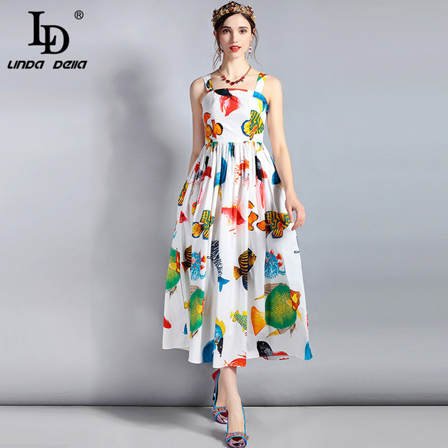 987861163ab LD LINDA DELLA 2018 Fashion Runway Designer Summer Dress Women s Spaghetti  Strap Seabed Animal fish Print Casual Mid-Calf Dress