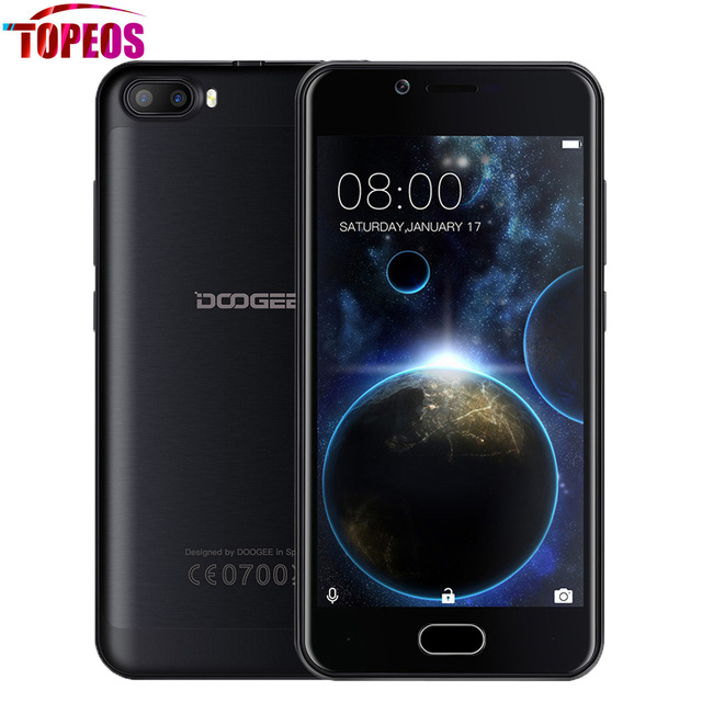 "DOOGEE SHOOT 2 Android 7.0 Dual Rear Cameras Smartphone MTK6580A Quad Core 1GB+8GB 5.0"" HD 1280*720 Fingerprint ID Mobile Phone"