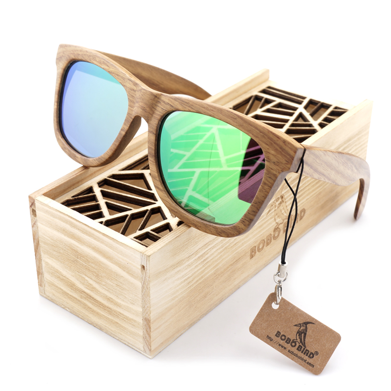 BOBO BIRD Lesna sončna očala Blagovna znamka rjava lesena sončna očala Style Square Sončna očala Gafas Oculos Masculino