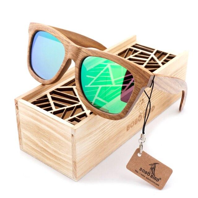 ボボ鳥の木のサングラスブランドのデザイナー茶色の木製サングラススタイル正方形サングラスmasculinoドロップシッピングのoem