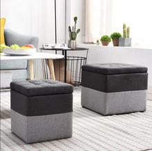 Solid wood small stool cloth shoes stool storage stool living room sofa stool home creative large storage stool