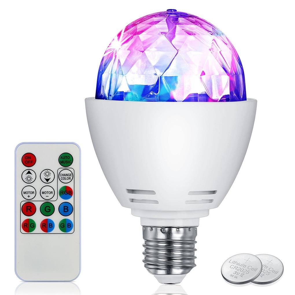 100V-240V Colorful RGB LED Bulb 3W E27 Disco Light Bulbs Rotating Stage Strobe DJ Dance with Remote Control for Bar Karaoke Club стоимость