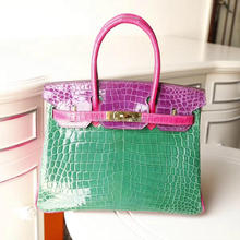 2017 fashion crocodile leather bag lock high end ladies handbag