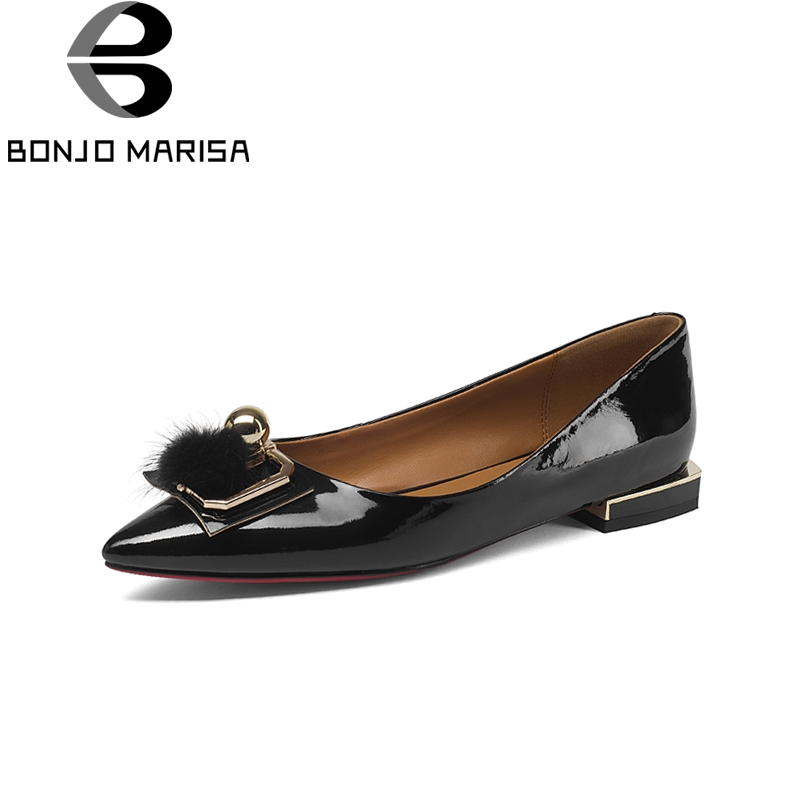 BONJOMARISA Brand New Genuine Leather slip-on Metal Decoration Solid Shallow Shoes Woman Casual Spring Flats Big Size 33-43 lapolaka 2018 spring autumn sweet shallow women ballet flats bow beading slip on shoes woman big size 33 43 casual footwear