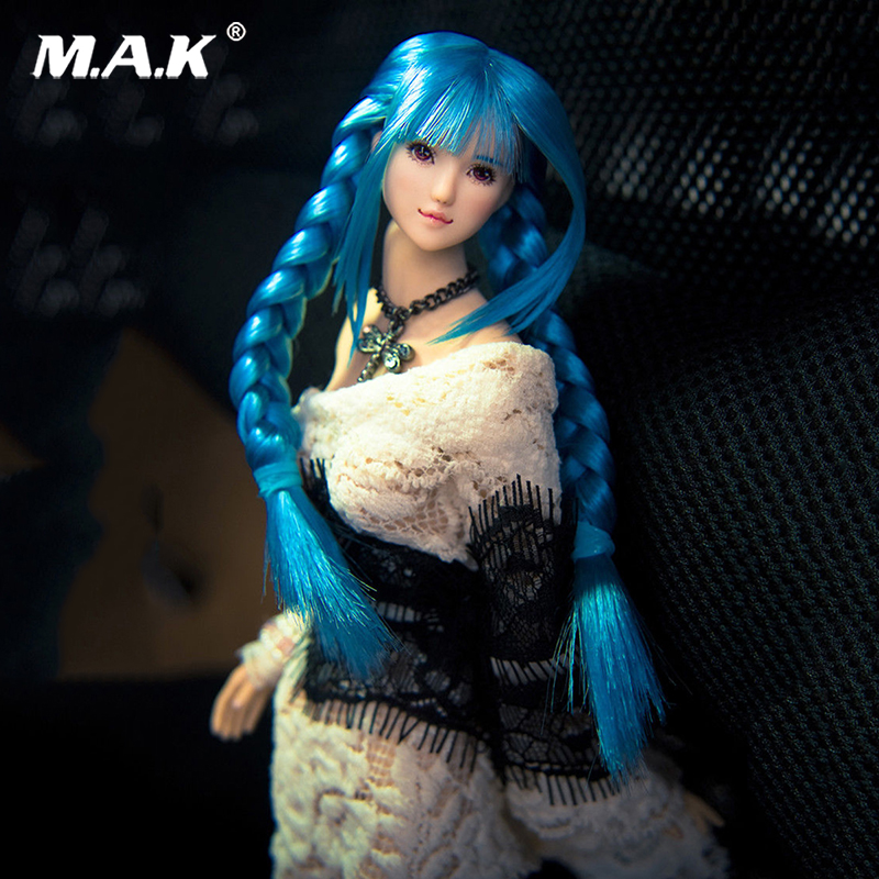 1:6 Scale Ob27 Blue Hair straight bang Head Beautiful Girl Head Sculpt For 12 Action Figure Body Toys Accessories Collections 12 inch 1 6 scale male head sculpt for 12 men action figure toys collections