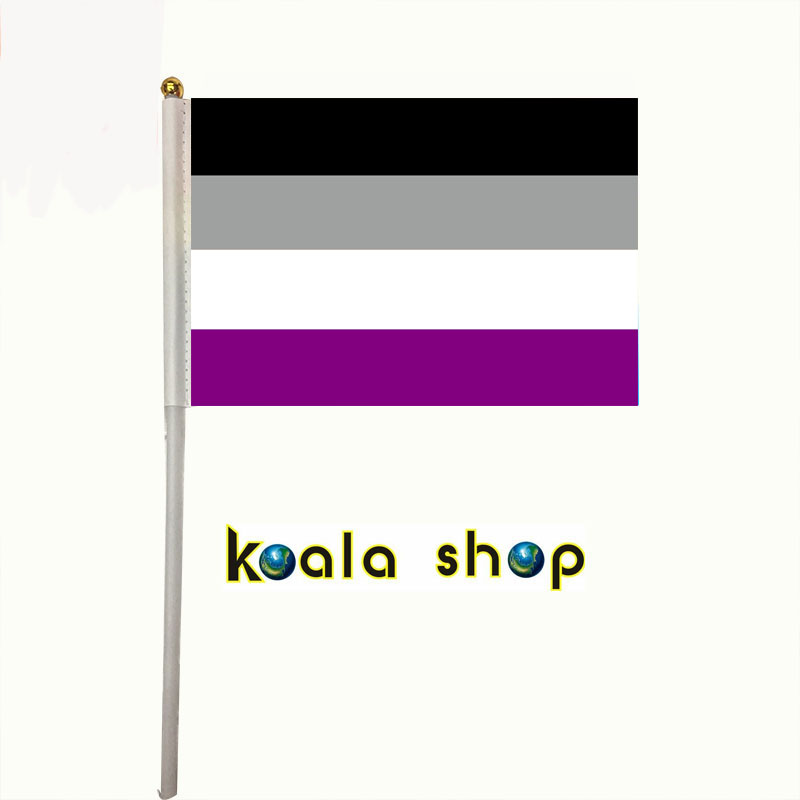 100pcs/ package <font><b>flag</b></font> size 14*21cm with plastic flagpole lengt 30cm LGBTQIA Ace Community Asexuality <font><b>asexual</b></font> pride Hand <font><b>flags</b></font> image