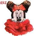 2016 Novos Do Bebê Meninas Define Meninas Minnie Mouse Vestuário Set camiseta + Saia Crianças 2 pcs Terno