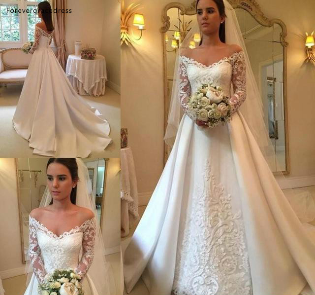 Long Sleeve Wedding Dresses 2019 A Line Off The Shoulder Bohemia Summer Country Garden Formal Bride Bridal Gowns Plus Size
