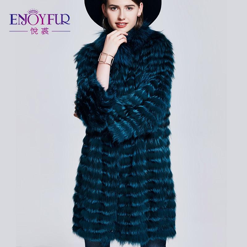 ENJOYFUR Real Fox abrigo de piel de moda de doble cara delgada capa con piel de otoño invierno abrigo de pieles genuino para las mujeres abrigos de cuero de piel
