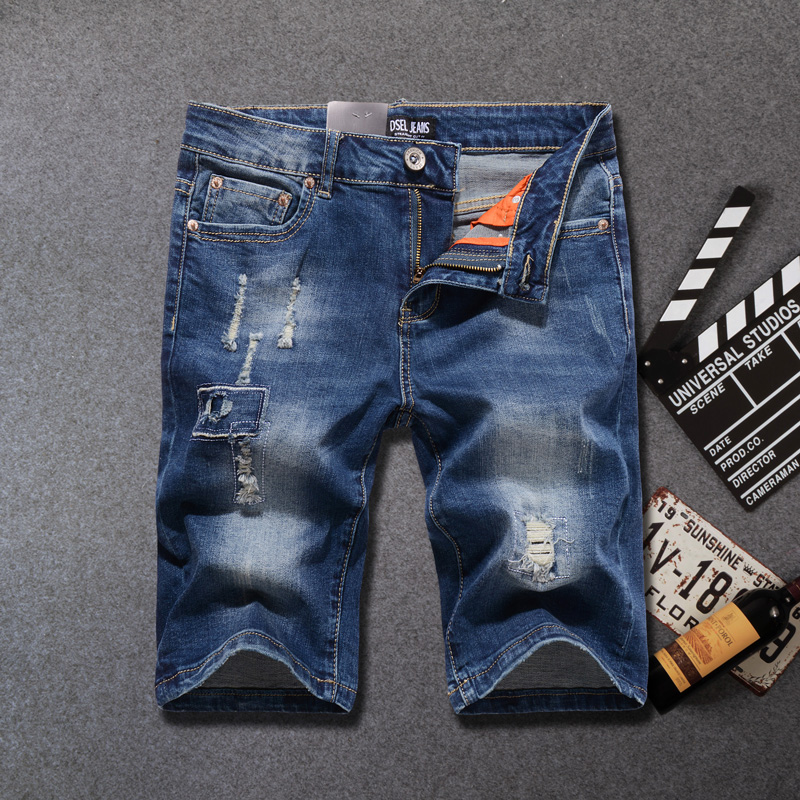 Summer Fashion Men's   Jeans   Shorts Elastic Short Ripped   Jeans   Homme Knee Length Streetwear Punk Style Hip Hop Denim Shorts Men