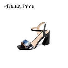 AIKELINYU 2019 Summer Serpentine Leather Sandals Sexy Lady Peep Toe Square Heel Buckle Strap Woman Classic Elegant Shoes