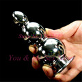 Top quality metal large anal beads butt plug heavy type solid big anal plugs,3 balls metal buttplug gay sex toys for men woman