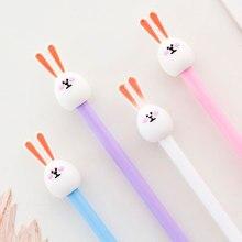 2 pcs/lot Long ears Rabbit gel pen Cute Animal black ink Signature pens school writing supplies Stationery Promotional gift недорого